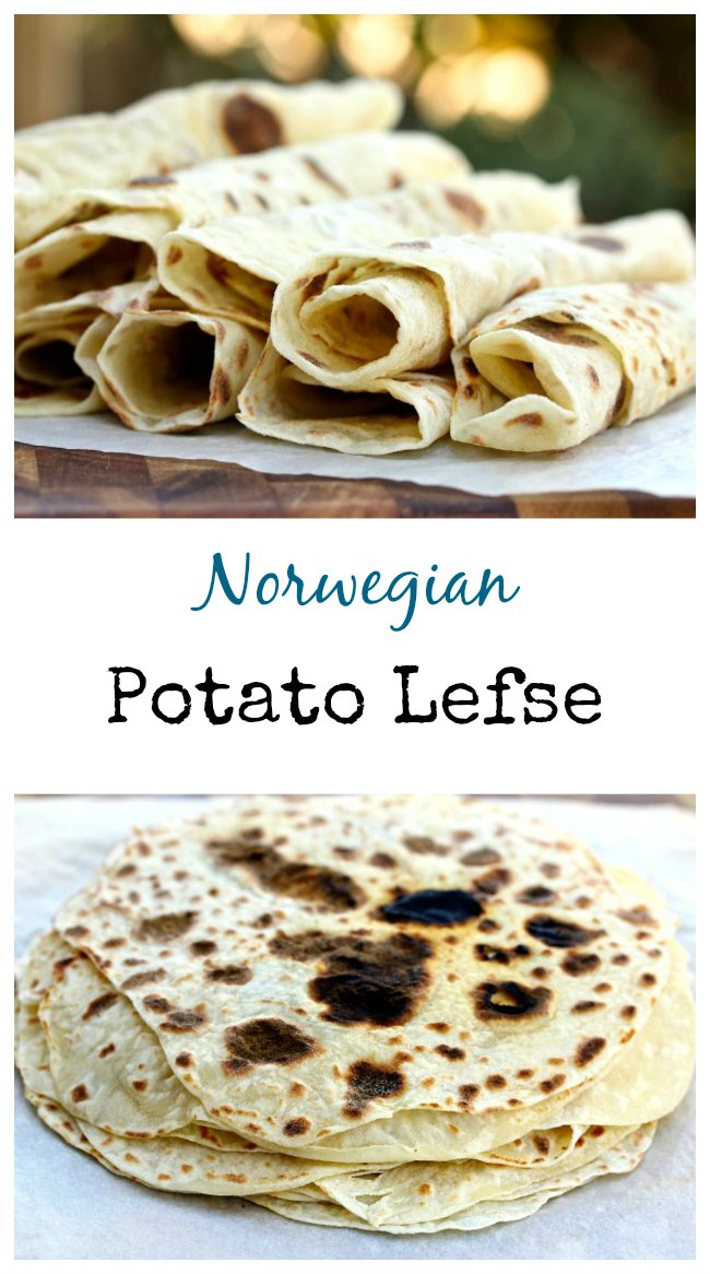 Potato lefse is a Norwegian flat bread that is rolled out very thinly, and then baked on a very hot griddle. It looks like a crepe, but tastes like a buttered baked potato.  #lefse #potatoes #crepes