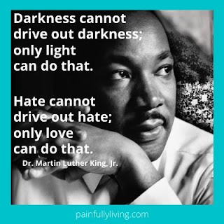 "B&W head shot of MLK Jr clasping his hands with quoted text ""Darkness cannot..."""
