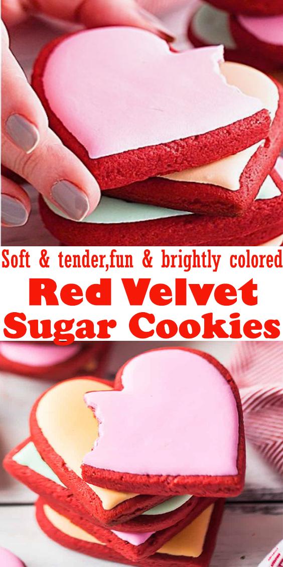 Red Velvet Sugar Cookies #RedVelvet #Sugar #Cookies #dessert
