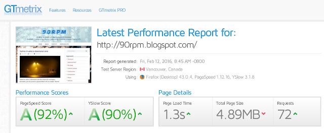 Risultato valutazione GTmetrix: Pagespeed A, YSlow A