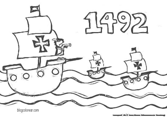 dibujo de Cristóbal Colón con las tres carabelas colorear