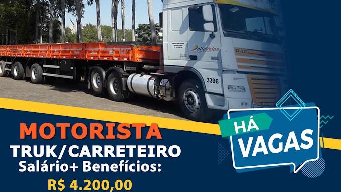 Transportadora Della Volpe abre vagas para Motorista Truck e carreteiro Salário: R$ 4.200,00
