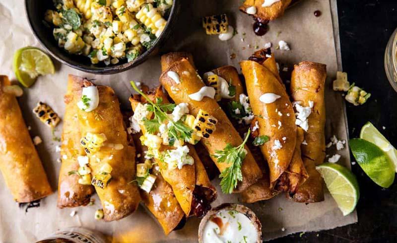 Crockpot BBQ Beer Chicken Taquitos with Street Corn Salsa