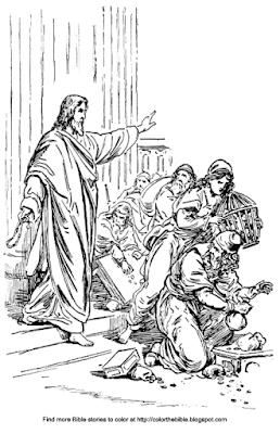 Color the bible for Jesus and the money changers coloring page