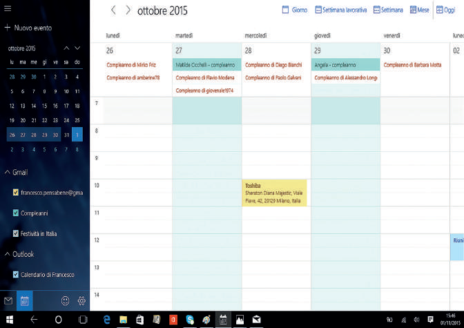 usare Posta e Calendario Windows 10