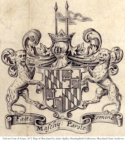 Calvert Coat of Arms, 1671 Map of Maryland by John Ogilby. Huntingfield Collection, Maryland State Archives.