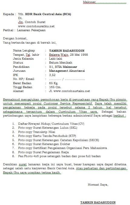 Contoh Surat Lamaran Kerja Bank BCA Terbaru dan Terlengkap MS Word