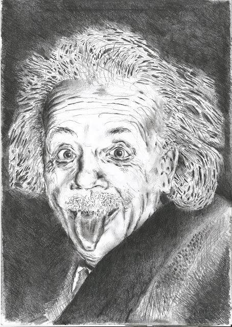 Bleistiftzeichnung Albert Einstein Zunge Physiker gezeichnet - Andreas Blauth Zeichnungen