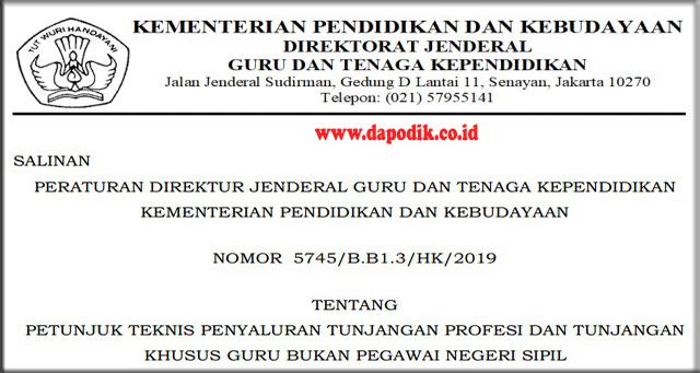 JUKNIS  PENYALURAN TUNJANGAN PROFESI DAN TUNJANGAN KHUSUS GURU BUKAN PEGAWAI NEGERI SIPIL NOMOR  5745/B.B1.3/HK/2019