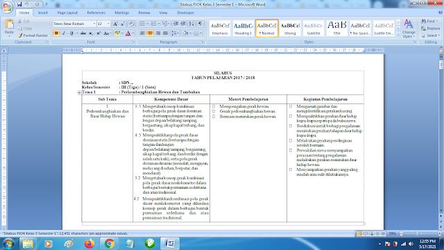 Contoh Format Silabus PJOK K13 Kelas 3 SD Semester 1 Revisi Terbaru
