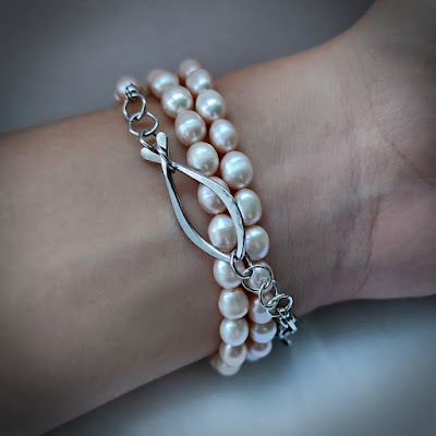 Face Mask / Eyeglasses Chain with Pearl and Wire Fish / Ichthus as Layered Bracelet