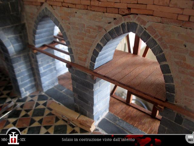 Il solaio in costruzione visto dall'interno