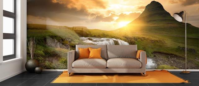 tapet natur landskaptapet berg solnedgång fototapet