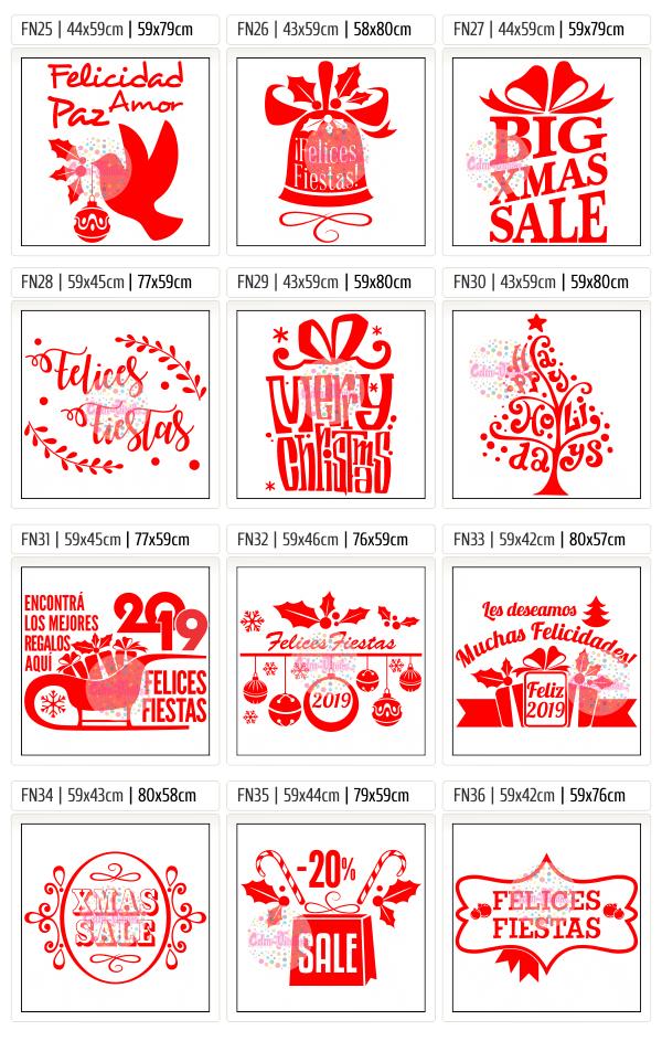 Vinilo para vidrieras, vidrieras navideñas, vinilos navidad, Año Nuevo 2019, carteles, negocios, ploteos, vinilos locales