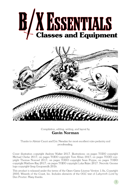 B/X Essentials: Classes and Equipment -- Title Page and Illustration Preview
