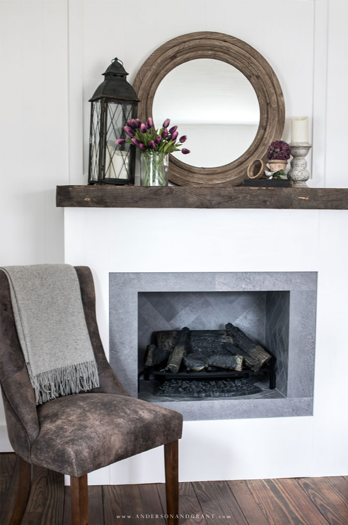 White fireplace with spring decorations