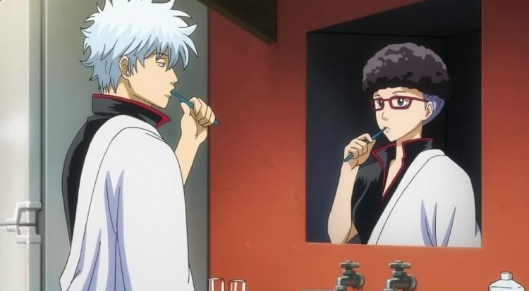 gintoki brushing his teeth