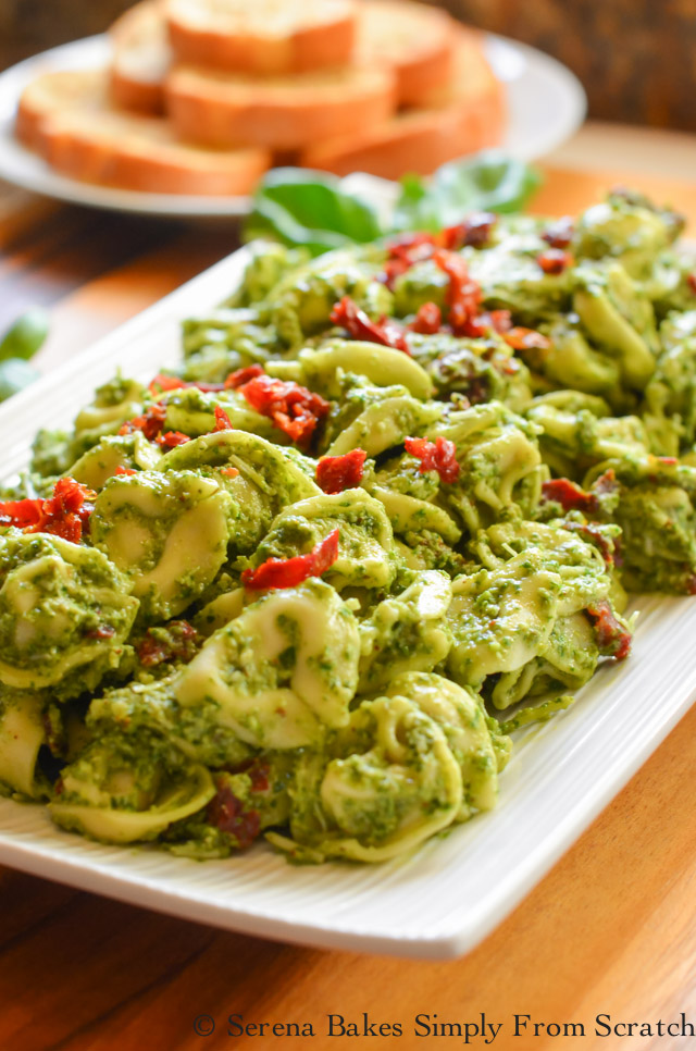 Tortellini Kale Pesto Pasta Salad is perfect warm or cold.