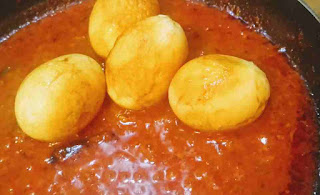 Boiled eggs in tomato onion gravy for egg curry recipe