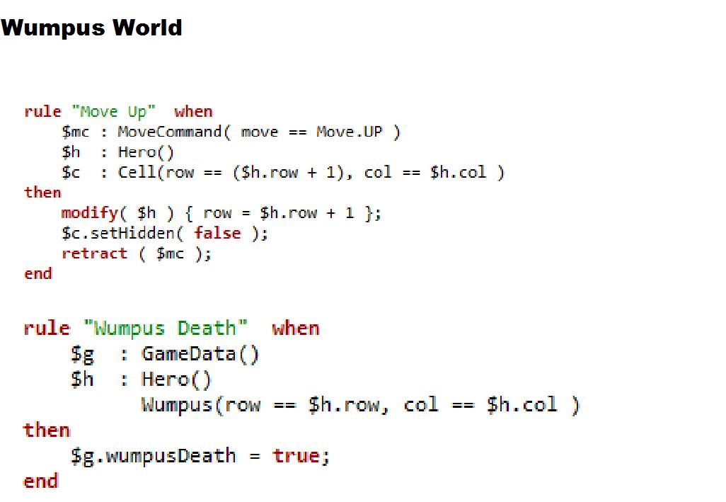 Drools & jBPM: Wumpus World
