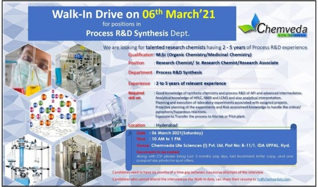 Chemveda lifesciences | Walk-in interview for R&D on 6th Mar 2021