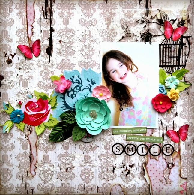 Shabby Chic Mixed Media Scrapbook Layout with Stenciling and Pink and Blue Flowers