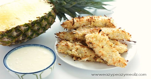 Coconut Crusted Chicken Strips With Creamy Pineapple Coconut Dipping Sauce Recipe