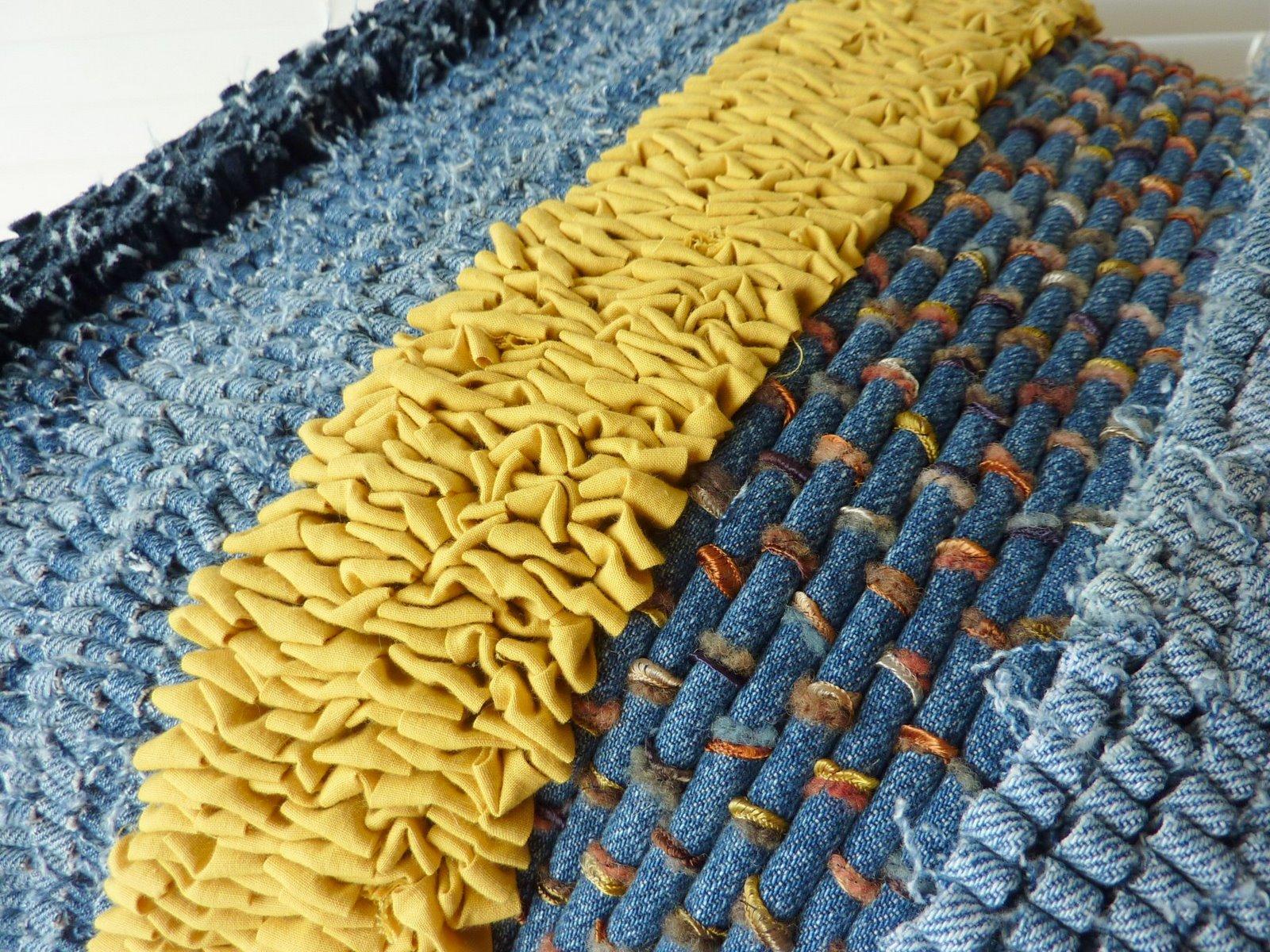 Greatest Fire Horse Textiles: Rag Rug, Recycled Denim Cushion XT34