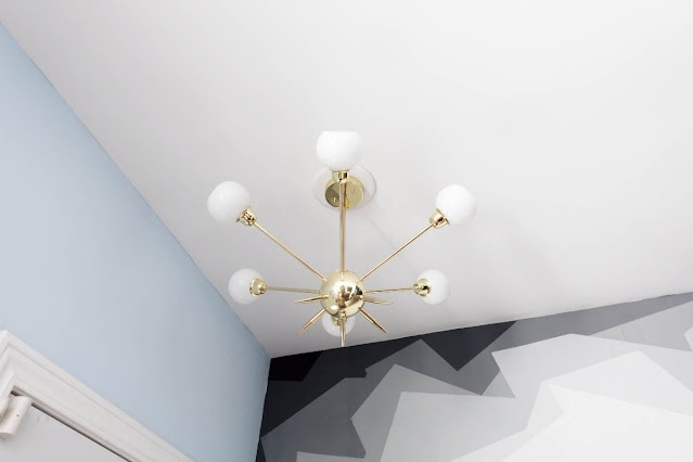 brass Sputnik faux mid-century modern light pendant fixture