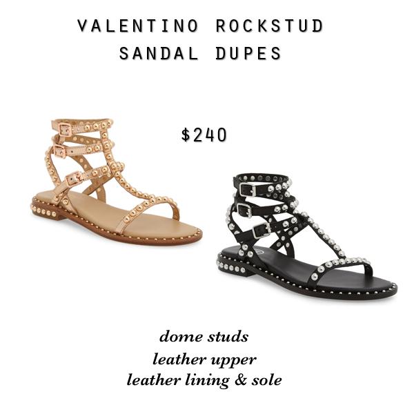 Valentino Rockstud strappy gladiator sandal dupes, Ash Play stud sandals