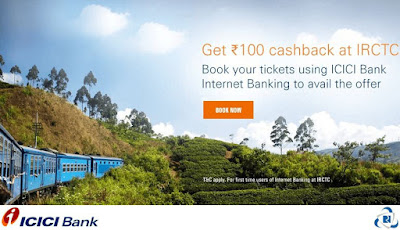 IRCTC is now offering a fantastic offer where you can avail a flat Rs.100 Cashback on train bookings at 'IRCTC' using ICICI Bank Internet Banking Service.
