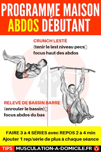 musculation à domicile programme musculation débutant poids du corps et haltère abdos