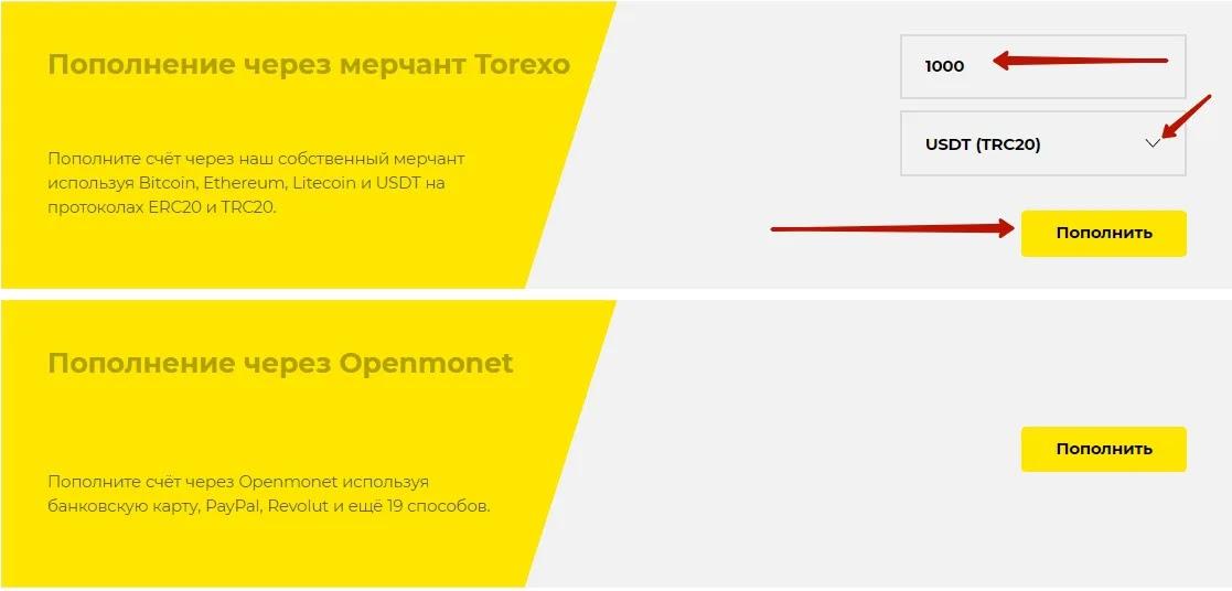 Создание инвестиции в Torexo 2