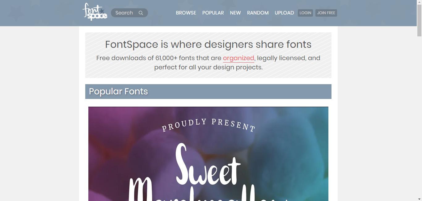 fontspace-best font websites