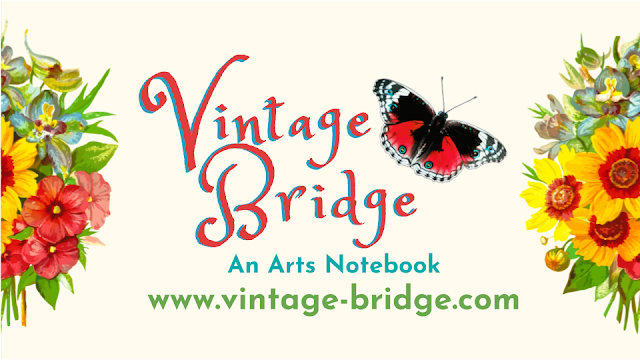 Vintage Bridge An Arts Notebook logo with off white background, floral bouquets, and red and turquoise butterfly and script for the wording