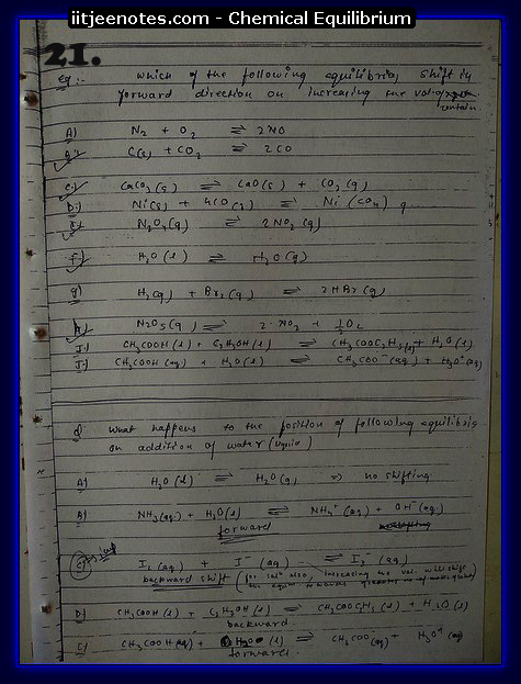 Chemical Equilibrium Notes IITJEE8