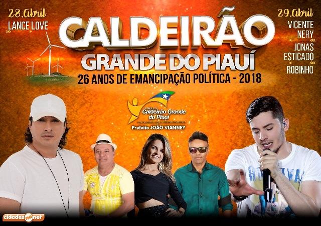 Prefeito confirma Jonas Esticado e Vicente Nery no de aniversário de Caldeirão Grande do Piauí