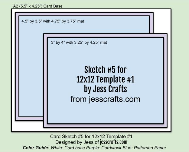 Card Sketch 5 for 12x12 Paper Cutting Template #1 by Jess Crafts