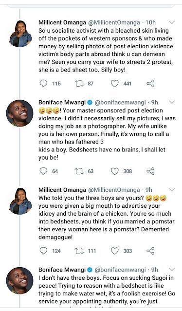 Millicent Omanga accuses to Mwangi