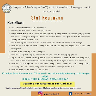 Loker Kupang di Yayasan Alfa Omega Sebagai Staf Keuangan