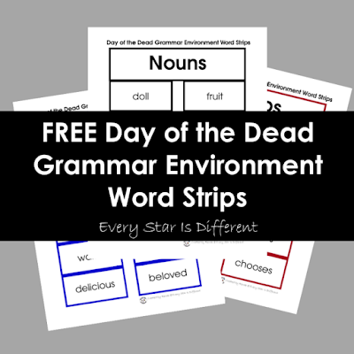 FREE Day of the Dead Grammar Environment Word Strips