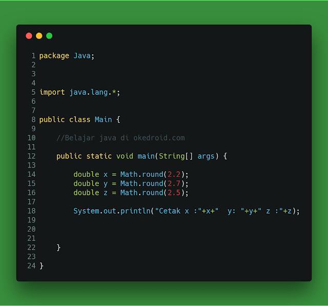 Contoh method .round() class Math java