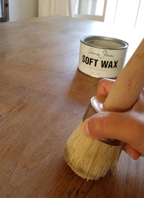 applying Annie Sloan soft was to tabletop with a wax brush.