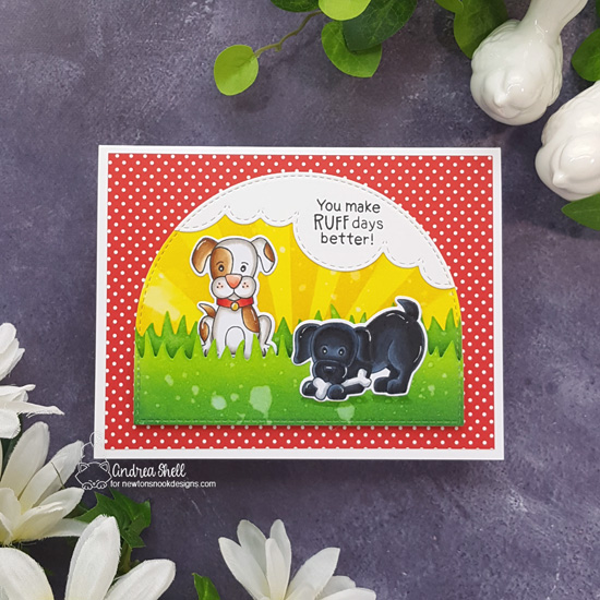 Puppy Card by Andrea Shell | Puppy Playtime Stamp Set, Land Borders Die Set, Sky Borders Die Set and Sunscape Stencil by Newton's Nook Designs #newtonsnook #handmade