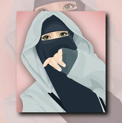 Gambar kartun keren muslimah bercadar