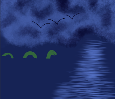 ID: clouds cover the top half of the image with three birds visible in a simple line sillouette while water covers the bottom half with a green, smiling sea monster in the waters.