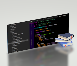A 3D image of Sublime Text 3 code editor with code open and 3D books protruding perpendicularly out of the 3D image but near halfway into and through the image.