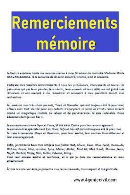 Exemple de remerciement mémoire pdf