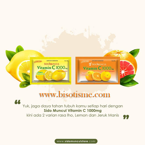 Sido Muncul Vitamin C 1000mg rasa Lemon dan Sweet Orange