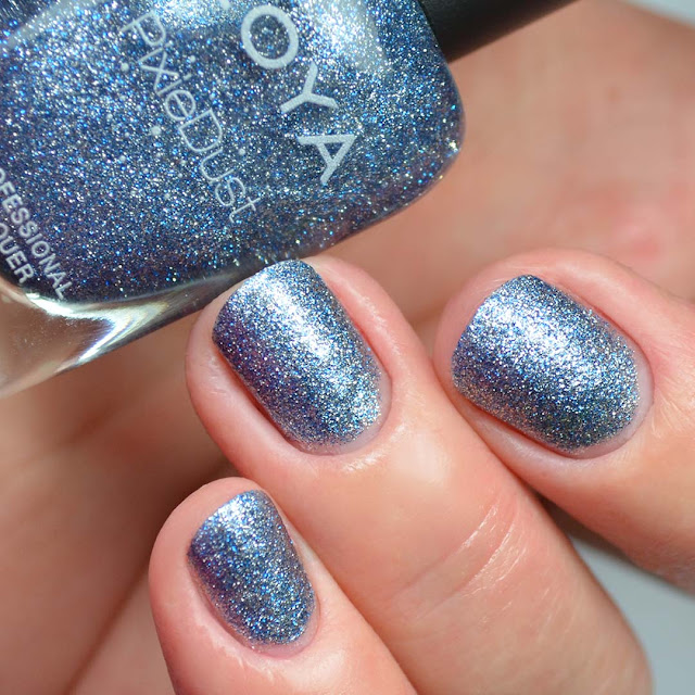 textured blue glitter nail polish swatch